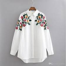 floral blouse 2017 fashion design floral embroidery turn collar shirt