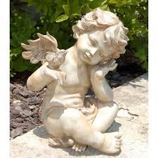 to it winged cherub with bird 124 98 outdoor