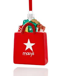 macy s shopping bag with presents ornament only at