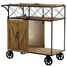 american art decor farmhouse wood metal barn door rolling bar cart