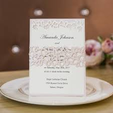 layered wedding invitations rustic blush layered laser cut belly band wedding