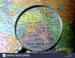 Middle East On Map by Globe With Middle East And Iraq Highlighted With Magnifying Glass