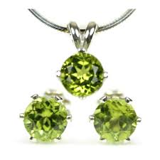 peridot stud earrings green peridot sterling silver stud earrings and pendant necklace