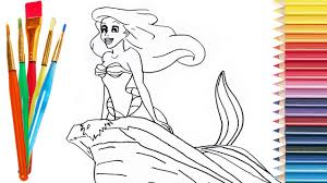 draw mermaid ariel disney kids coloring pages