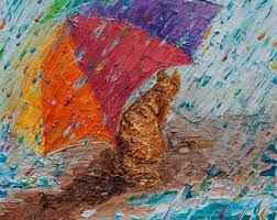 original painting father son in rainbow rain puddle