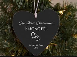 our first christmas engaged ornament personalized ornament for