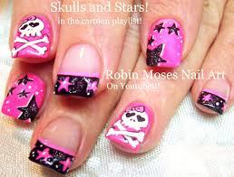 nail art tutorial diy stars and skull nails neon pink black