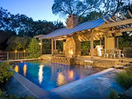 chic and trendy backyard designs with pool and outdoor kitchen
