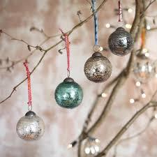 nkuku edi embossed glass baubles x 4 glass christmas baubles