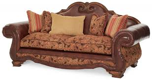 3 359 00 tuscano leather fabric high back sofa brick by michael