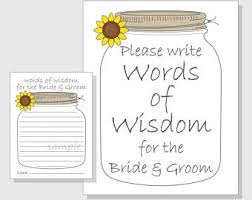 words of wisdom bridal shower wisdom jar etsy