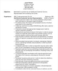 Call Center Job Description For Resume by Customer Service Representative Resume 9 Free Sample Example