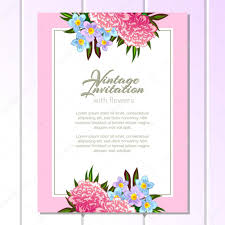 All About Flowers - pink and blue wedding card u2014 stock vector all about flowers
