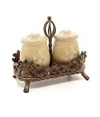 dillards kitchen canisters artimino fleur de lis beveled earthenware salt pepper shaker set