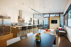 kitchen kitchen and dining room of small contemporary house in
