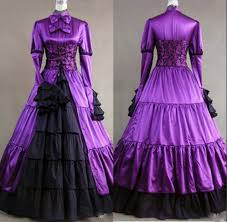 victorian gothic corset long sleeve evening dresses high neck bow