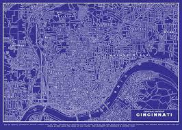Map Of Cincinnati Ohio by Cincinnati Ohio Map Street Map Vintage Blueprint