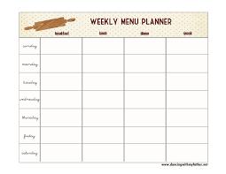 printable blank meal planner one step toward organized free printable menu planner dancing
