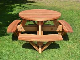 Picnic Table Plans Free Octagon by Round Wooden Picnic Tables Detached Benches Table Plans