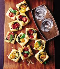 puff pastry canape ideas pastry squares with goat s cheese pesto and tomato delicious