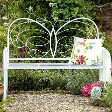 Butterfly Bench White Garden Bench Metal Home Outdoor Decoration