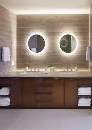Backlit Mirror Bathroom by Backlit Mirror Bathroom Contemporary With Wood Vanity Contemporary