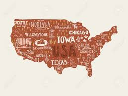 Montana Usa Map by Usa Map Handdrawn Illustration With Lettering And Symbols Of