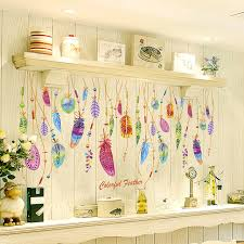 home sweet home decoration hot sale creative colorful feathers wall stickers sweet home