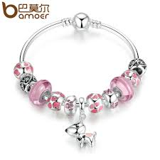 european bead charm bracelet images Bamoer new arrival silver color lovely dog pendant pink european jpg