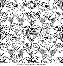 hand drawn zentangle heart seamless pattern stock vector 390437305