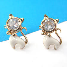 cat stud earrings cat animal small stud earrings in gold with rhinestones