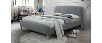 design bett design bett stoff grau und holz 140 x 200 cm niels miliboo