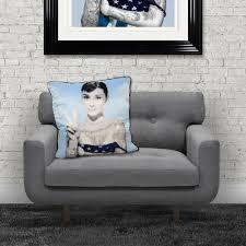 hans audrey hepburn luxury feather filled cushion blue 55cm x 55cm