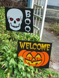 scary halloween lawn decoration enter at your own risk halloween