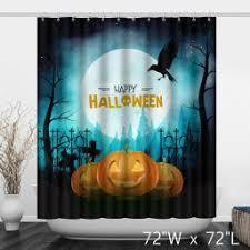 black white halloween ghost skull shower curtain custom shower