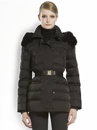 gucci furtrimmed hooded puffer jacket in black lyst
