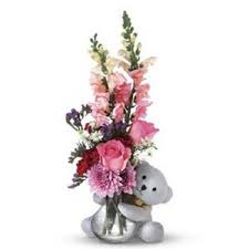 mix flower bouquet with 6 inch teddy bear myflowergift