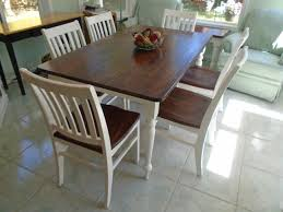 Farm Table Dining Room Rustic Farmhouse Table Brown Stained Top White Painted Legs 6