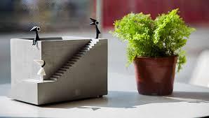 handmade concrete architectural style succulent planter plant