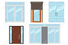 vector collection of various types of modern entrance doors for