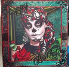 handmade gothic birthday card with a day of the dead sugar skull