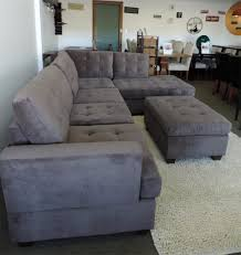 burbank charcoal grey waffle suede sectional sofa with right