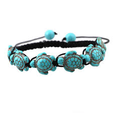 hand woven bracelet images Bohemian women 39 s turquoise turtle charm bracelets black hand woven jpg