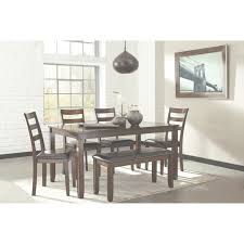 6 pc dining table set burnished brown 6 piece dining table set with bench by signature