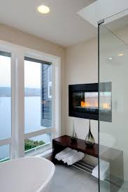 electric fireplace bathroom home interior design simple cool in