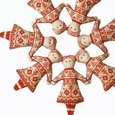 redwork doll cross stitch scandinavian christmas ornament 15 00