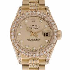 diamond rolex women u0027s 18k yellow gold u0026 diamond rolex president ref 69178