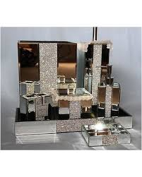 mirrored bathroom accessories amazing deal on bella lux mirror rhinestone bathroom accessories