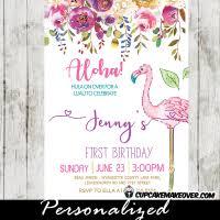 flamingo first birthday invitations pink purple blue tropical