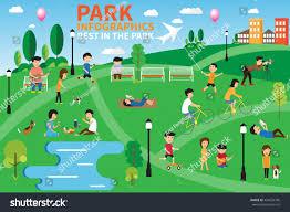 infographics activities park rest stock vector